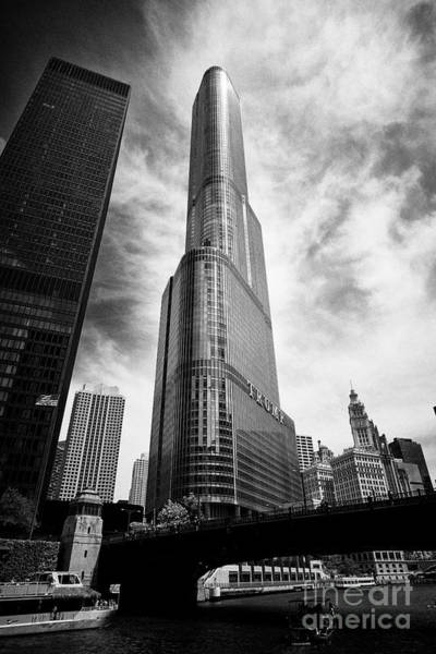 Wall Art - Photograph - trump tower with the chicago river downtown Chicago IL USA by Joe Fox