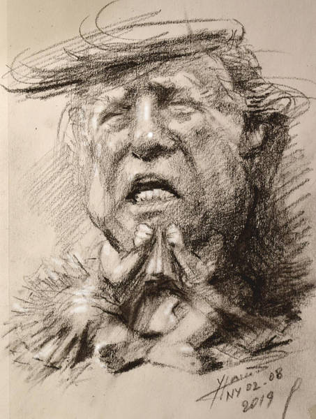 Wall Art - Drawing - Trump-whiny Little Thing by Ylli Haruni
