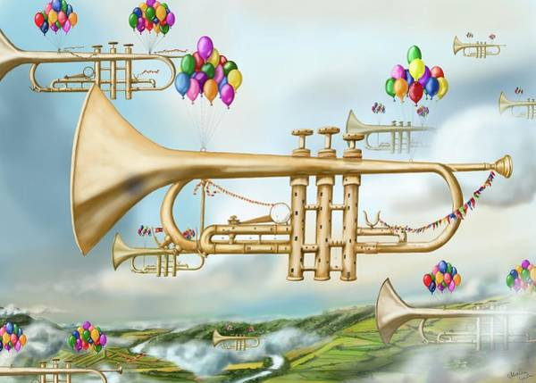 Digital Art - Trumpet In The Clouds by Martin Lycka