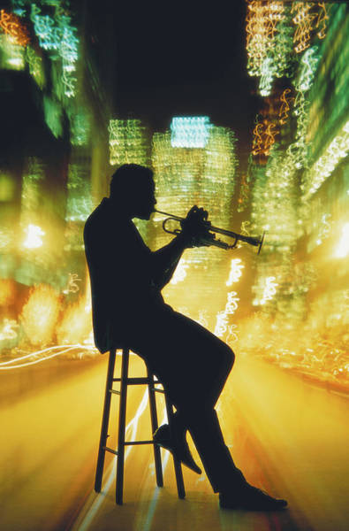 Jazz-funk Wall Art - Photograph - Trumpet Player By Blurred City by Mitchell Funk