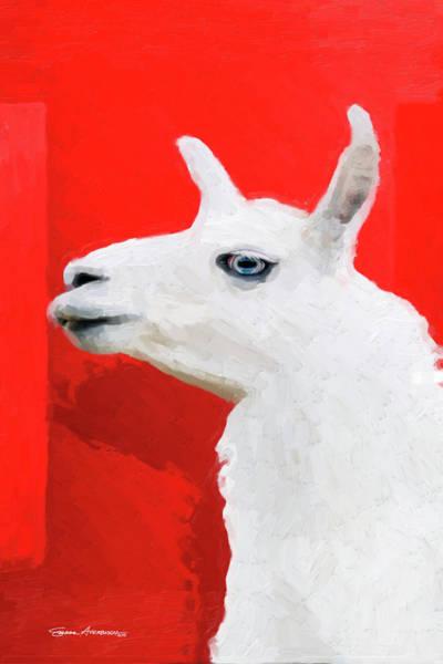 Digital Art - The Blue-eyed Llama  by Serge Averbukh