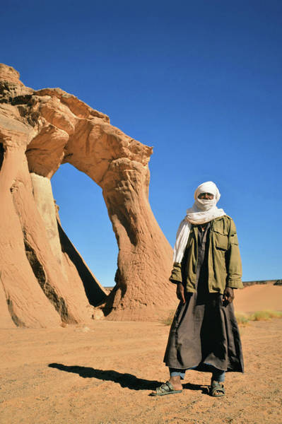 Headwear Photograph - Tuareg Standing In Front Of Natural by Friedrich Schmidt