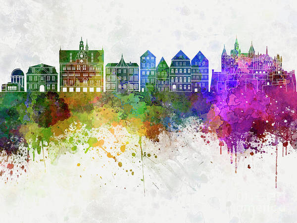 Wall Art - Painting - Tubingen Skyline In Watercolor Background by Pablo Romero