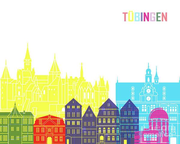 Wall Art - Painting - Tubingen Skyline Pop In Editable Vector by Pablo Romero