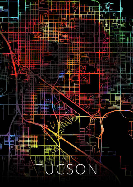 Wall Art - Mixed Media - Tucson Arizona Watercolor City Street Map Dark Mode by Design Turnpike