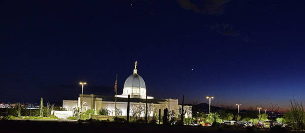 Photograph - Tucson Temple Nighttime by Chance Kafka