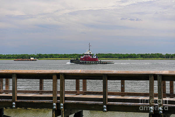 Photograph - Tug Boat Steaming Up The Cooper River by Dale Powell
