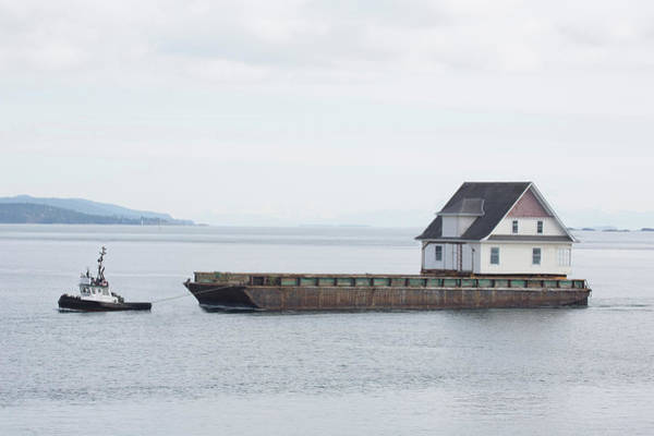 Pulling Photograph - Tug Pulling A Barge With House by Grant Faint