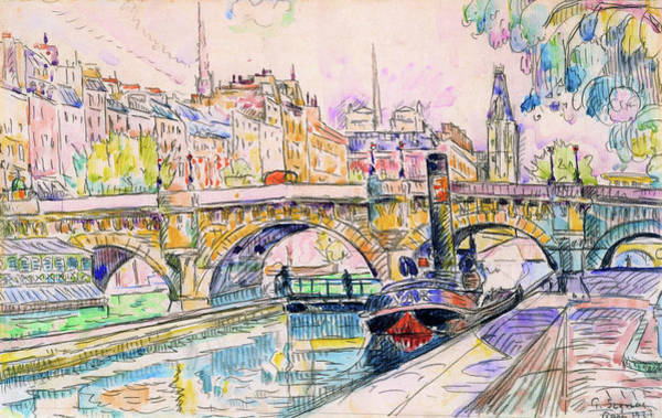 Neo-impressionism Wall Art - Painting - Tugboat At The Pont Neuf, Paris - Digital Remastered Edition by Paul Signac