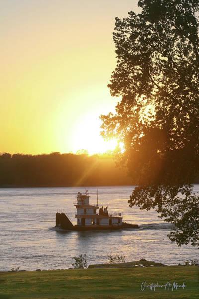 Tugboat On Mississippi River Art Print