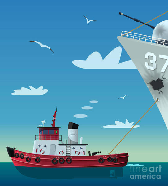 Wall Art - Digital Art - Tugboat Pulling Damaged Navy Ship by Nikola Knezevic