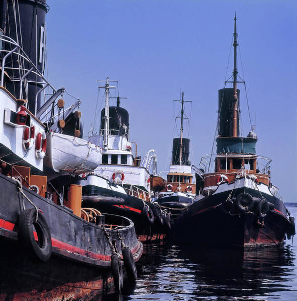 Moored Photograph - Tugboats Moored In The Port Of Naples by Alberto Incrocci