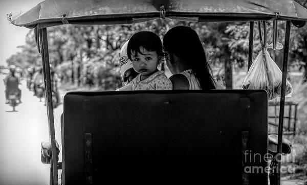 Wall Art - Photograph - Tuk Tuk Bw Child Expression Cambodia  by Chuck Kuhn