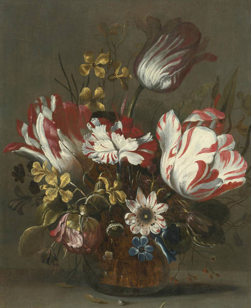 Wall Art - Painting - Tulips And Other Flowers In A Glass Vase by Hans Bollongier