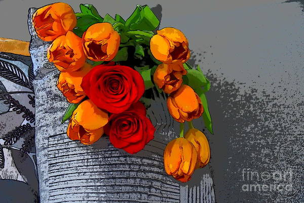 Photograph - Tulips And Roses by Diana Mary Sharpton