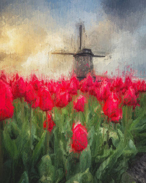 Painting - Tulips And Windmills - 01 by Andrea Mazzocchetti