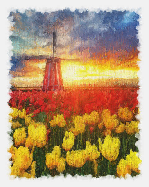 Painting - Tulips And Windmills - 02 by Andrea Mazzocchetti