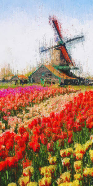 Painting - Tulips And Windmills - 03 by Andrea Mazzocchetti