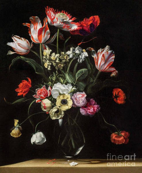 Wall Art - Painting - Tulips, Daffodils, Carnations, Poppies, Anemones, And Other Flowers In A Glass Vase On Wooden Ledge by Jean Picart