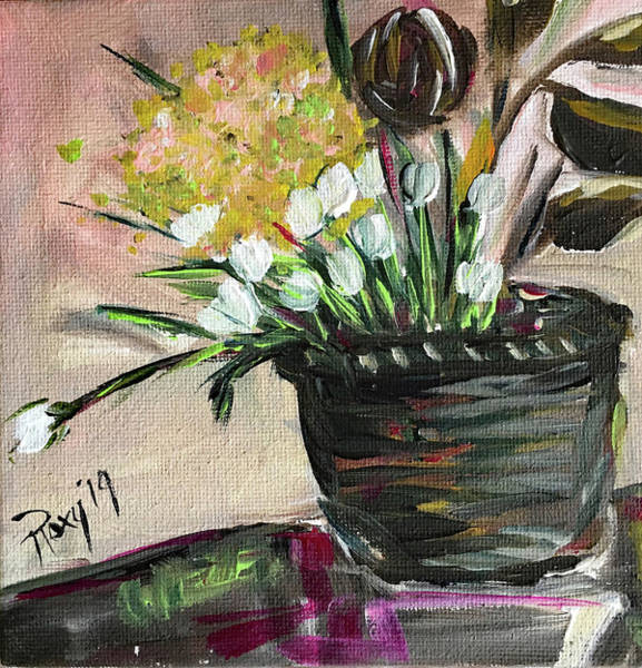 Contemporary Painting - Tulips In A Basket by Roxy Rich
