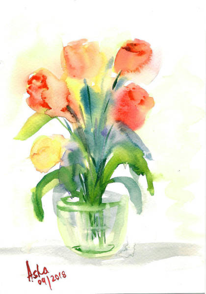 Wall Art - Painting - Tulips In A Vase by Asha Sudhaker Shenoy