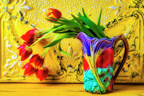 Wall Art - Photograph - Tulips In Antique Pitcher by Garry Gay