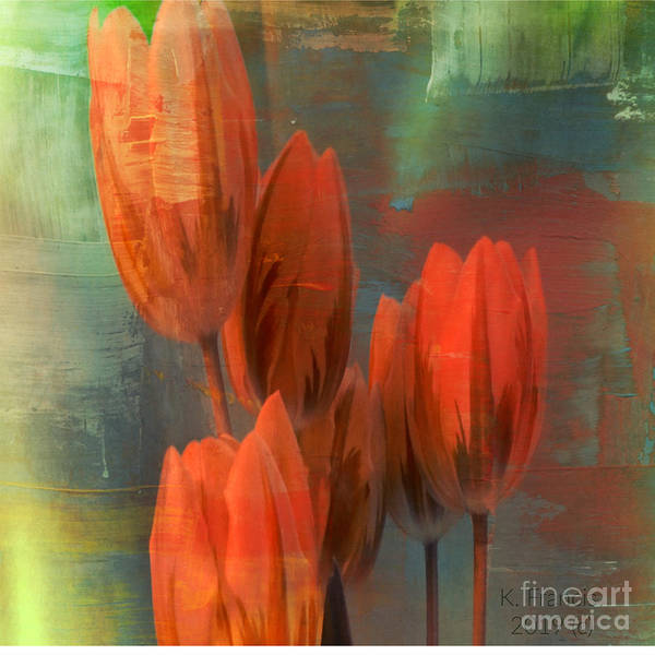 Wall Art - Digital Art - Tulips With Green Background by Karen Francis