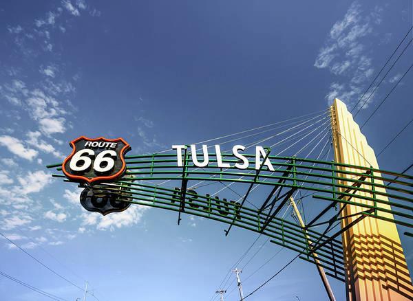 Photograph - Tulsa - Broken Arrow Route 66 Googie Style Street Sign by Gregory Ballos