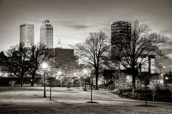 Photograph - Tulsa Cityscape View From Centennial Park - Sepia Edition by Gregory Ballos