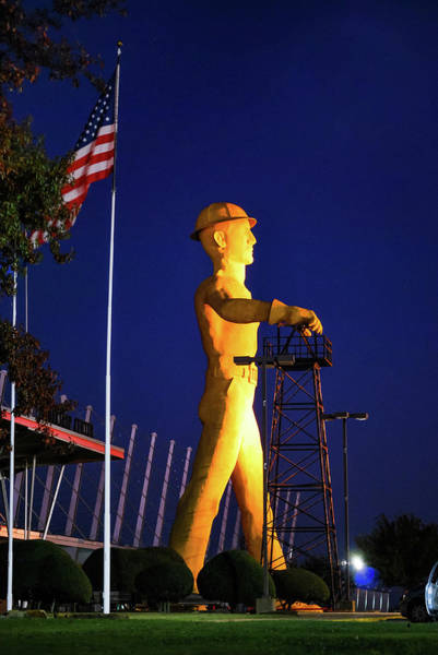 Photograph - Tulsa Golden Driller And Usa Flag by Gregory Ballos