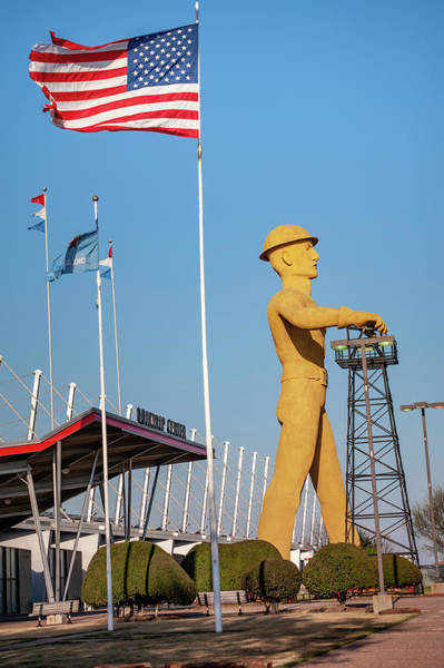 Photograph - Tulsa Golden Driller Under American Flag by Gregory Ballos