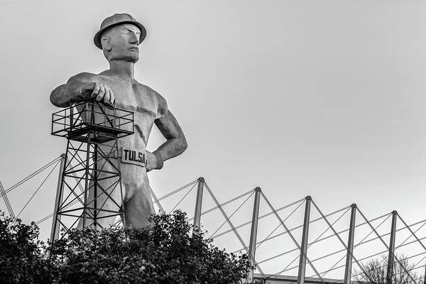 Photograph - Tulsa Golden Driller At Sunrise - Black And White Edition by Gregory Ballos