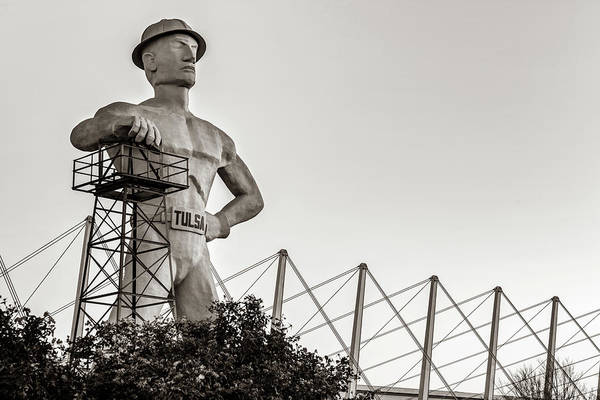 Photograph - Tulsa Golden Driller At Sunrise - Sepia Edition by Gregory Ballos