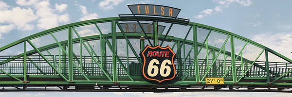 Photograph - Tulsa Oklahoma Route 66 Neon Panoramic  by Gregory Ballos