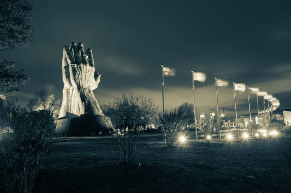 Photograph - Tulsa Oru Praying Hands And Avenue Of Flags - Sepia  by Gregory Ballos
