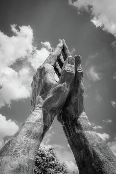 Photograph - Tulsa Praying Hands Sculpture - Monochrome by Gregory Ballos