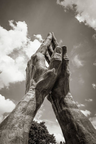 Photograph - Tulsa Praying Hands Sculpture - Sepia by Gregory Ballos