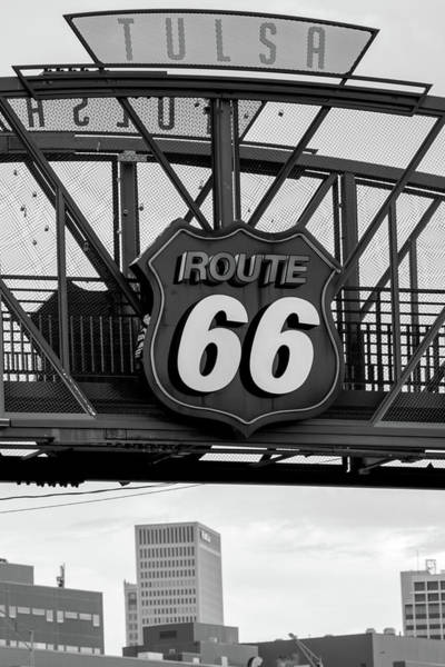 Photograph - Tulsa Route 66 Neon Over City Skyline by Gregory Ballos