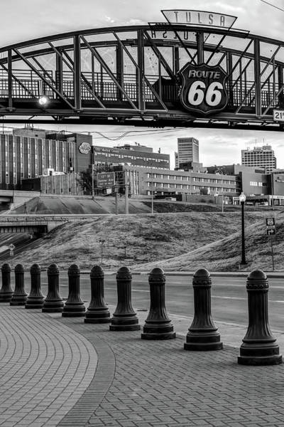Photograph - Tulsa Route 66 Skyline From Avery Plaza - Black And White by Gregory Ballos