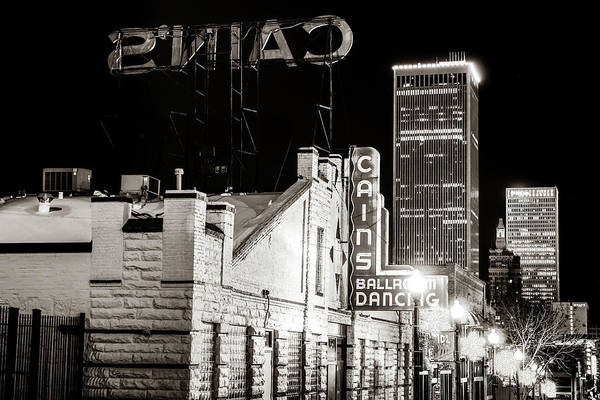 Photograph - Tulsa Skyline From Historic Cain's Ballroom - Classic Sepia by Gregory Ballos