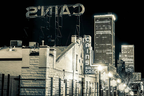 Photograph - Tulsa Skyline From Historic Cain's Ballroom - Sepia by Gregory Ballos