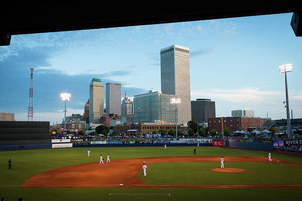 Photograph - Tulsa Skyline From Oneok Driller Stadium Seats by Gregory Ballos