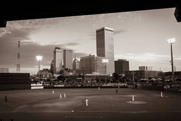 Photograph - Tulsa Skyline From Oneok Driller Stadium Seats - Sepia by Gregory Ballos