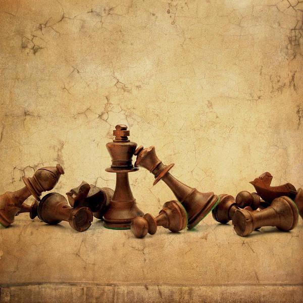 Messier Object Photograph - Tumbled Chess Set On A Textured by Bernard Jaubert