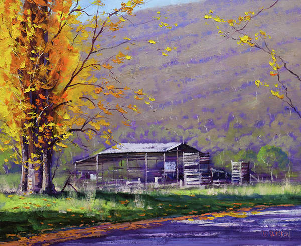 Poplar Painting - Tumut Valley Farm Shed by Graham Gercken