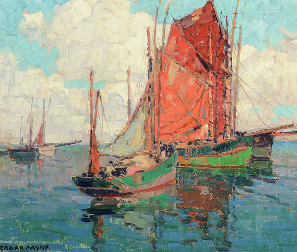 Wall Art - Painting - Tuna Boats by Edgar Payne