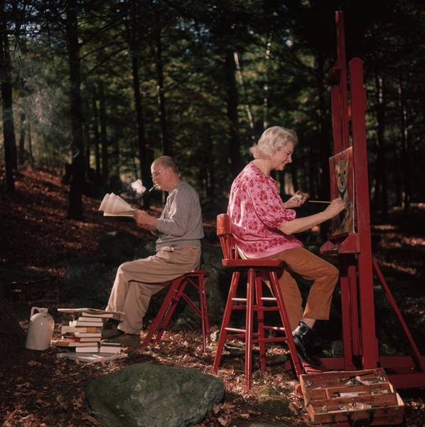 Archival Paper Photograph - Tuning Out by Slim Aarons