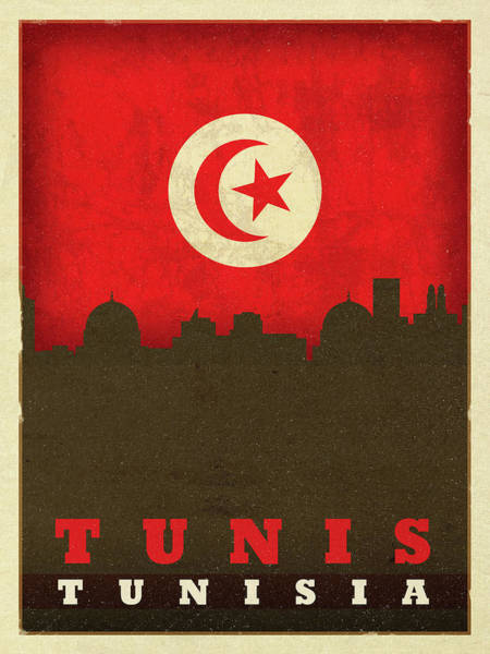 Wall Art - Mixed Media - Tunis Tunisia City Skyline Flag by Design Turnpike