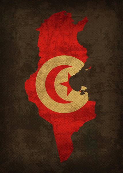 Tunisia Wall Art - Mixed Media - Tunisia Country Flag Map by Design Turnpike