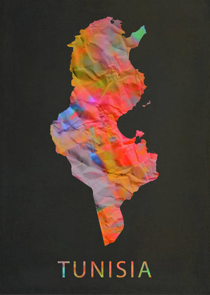 Wall Art - Mixed Media - Tunisia Tie Dye Country Map by Design Turnpike
